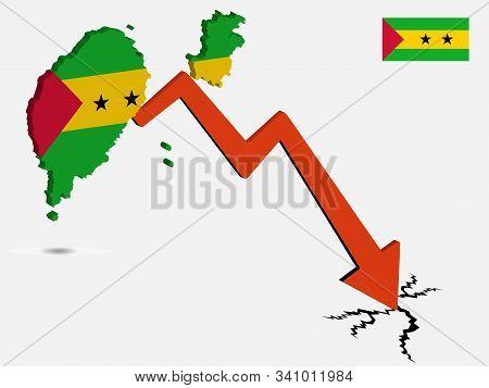 Sao Tome And Principe Economic Crisis Vector Illustration Eps 10.