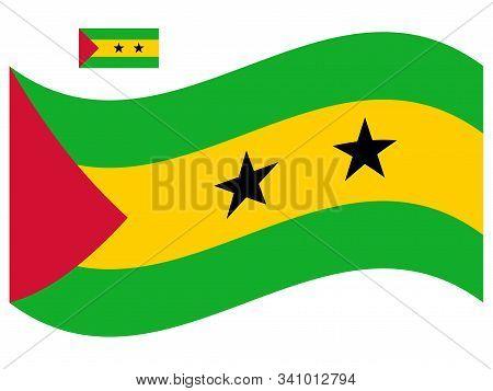 Wave Sao Tome And Principe Flag Vector Illustration Eps 10.