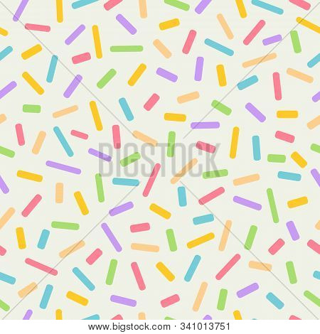 Seamless Colourful Sprinkles Repeat Pattern On A Light Background, Birthday Celebration Theme