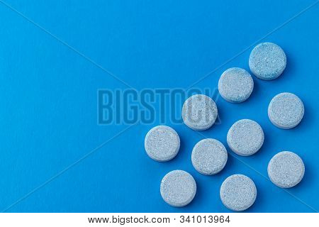 Blue Background, Pills Of Blue Color. Close-up