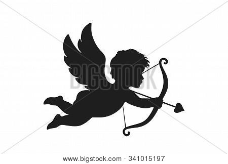 Cupid Icon. Valentine's Day Symbol. Cupid Shooting Arrow