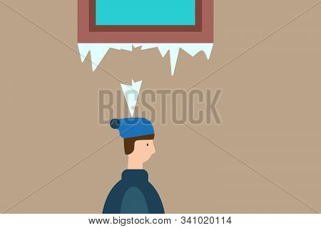 Icicle Fell On A Man. Winter Accident. Flat Design. Vector Illustration