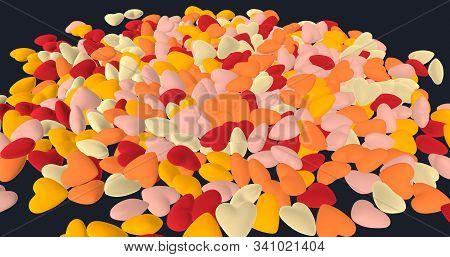 Abstract Background Of Warm Colorful Hearts Pile. Cg Render. Colors: Orange (saffron, Orange Peel),