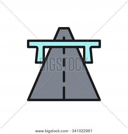 Vector Autobahn, Highway, Road, Way Flat Color Line Icon.