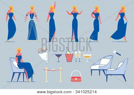 Cartoon Beautiful Woman Celebrity Or Movie Star Character In Different Poses And Gestures Set. Media