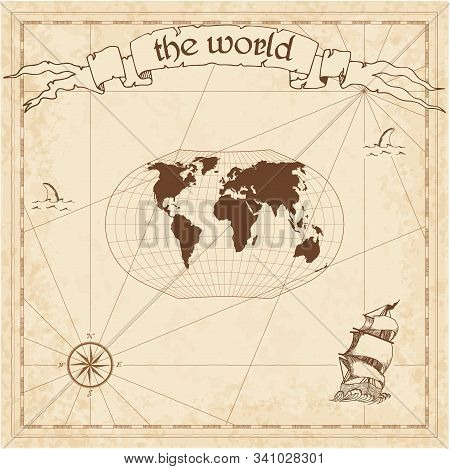 World Pirate Map. Ancient Style Navigation Atlas. Ginzburg V Projection. Old Map Vector.