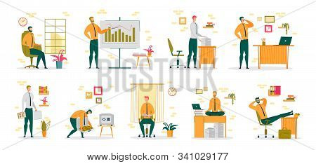 Businessman Or Entrepreneur, Office Clerk Cartoon Character Collection Performing Daily Work Routine