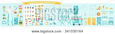 Cook, Confectioner Or Restaurant Chef Male Cartoon Character. Cookery And Cuisine, Delivery - Constr