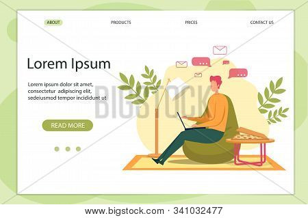 Cartoon Man Character Typing In Notebook, Chatting, Send Email Vector Illustration. Internet Communi