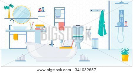 Spacious Bathroom For Two, Vector Illustration. Room Has Both Bath And Shower, Washbasin With Mirror