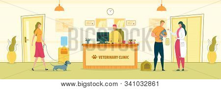 Veterinary Hospital Interior With People Cartoon Characters. Vet Clinic Registrar And Doctor Welcomi