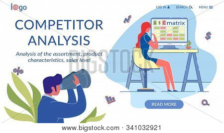 Competitor Analysis Flat Landing Page Template. Marketing And Strategic Management Homepage Vector L