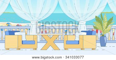 Mediterranean Cafe Interior. Table And Chairs On Open Terrace With Balustrade At Beach. Empty Hotel