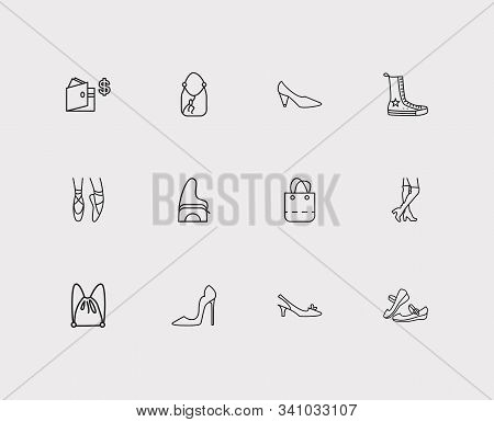 Shoes Icons Set. Mary Janes And Shoes Icons With Shoulder Bag, Knee High Boots And Cone Heel Shoes.