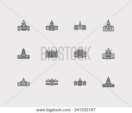 Building Icons Set. Arizona State Capitol And Building Icons With Delaware State Capitol, New York S