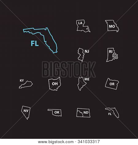 Cartography Icons Set. Florida And Cartography Icons With State Map, North Dakota And Oklahoma. Set