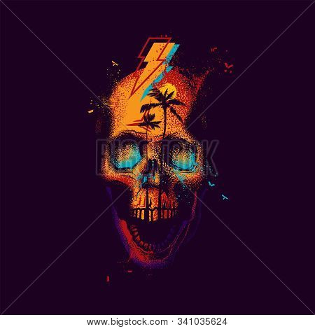 Original Vector Illustration In Neon Retro Style. Abstract Skull With Open Jaw, With Sunset And Palm