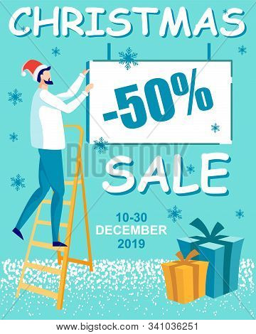 Xmas Clearance Sale Flat Brochure Vector Template. Christmas Promotion Flyer, Booklet, Leaflet. Wint