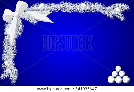 A Border Sheet Including A White Bow, White Pine Boughs, And White Balls On A Blue Background