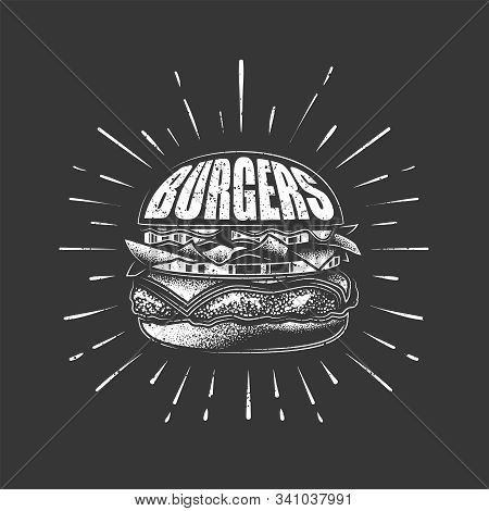 Original Vector Illustration. Burger With Cutlet, Tomatoes And Herbs. Drawn With Chalk.