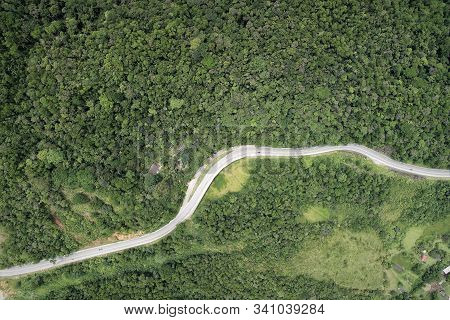 Aerial View Of Famous Padre Manoel Da Nobrega Road In The Saw. Great Landscape Between Mountains. Se