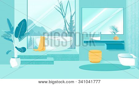Banner Bathroom Interior With Mountain Views. Beautiful Bathroom With Panoramic Window Overlooking M