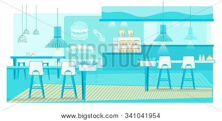 Spacious Fast Food Cafe Bistro Interior Trendy Flat Design. Coffee Shop, Bakery, Pizza Bar. Cheesebu