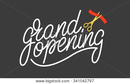 Grand Opening. Lettering Badge Design For Opening Ceremony, Marketing