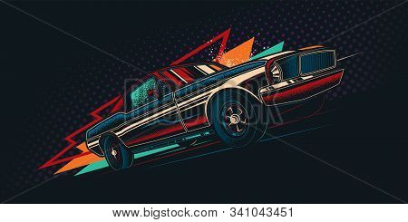 Original Vector Retro Print Car On Abstract Background Rides On Road. The American Muscle Car. T-shi