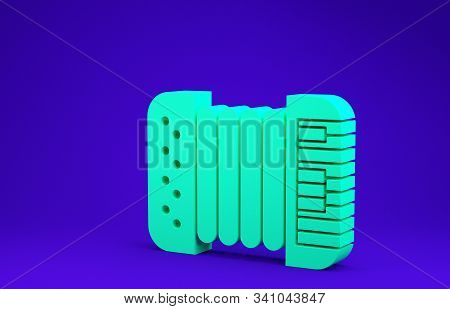 Green Musical instrument accordion icon isolated on blue background. Classical bayan, harmonic. Minimalism concept. 3d illustration 3D render poster