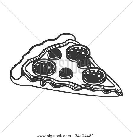 Original Contour Illustration Of A Slice Of Pizza. Coloring