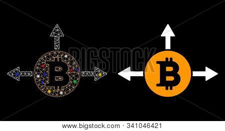 Glowing Mesh Bitcoin Variant Directions Icon With Glare Effect. Abstract Illuminated Model Of Bitcoi
