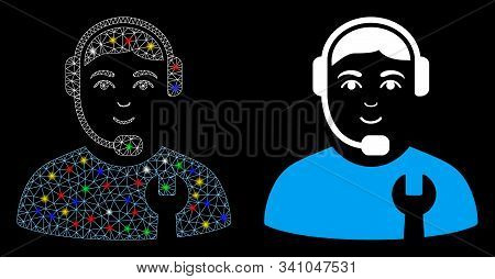 Glowing Mesh Call Center Serviceman Icon With Glare Effect. Abstract Illuminated Model Of Call Cente