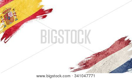 Flags Of Spain Andnederland On White Background