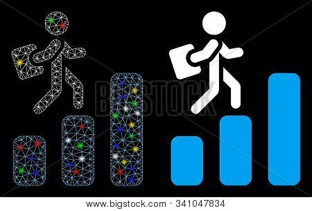 Flare Mesh Career Chart Icon With Lightspot Effect. Abstract Illuminated Model Of Career Chart. Shin