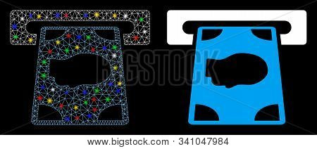 Glowing Mesh Cashpoint Icon With Sparkle Effect. Abstract Illuminated Model Of Cashpoint. Shiny Wire