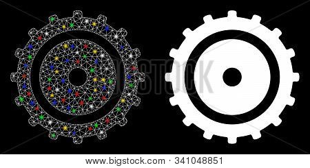 Flare Mesh Cog Wheel Icon With Glitter Effect. Abstract Illuminated Model Of Cog Wheel. Shiny Wire C