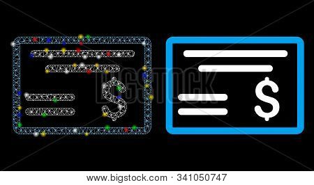 Glowing Mesh Dollar Cheque Icon With Glow Effect. Abstract Illuminated Model Of Dollar Cheque. Shiny