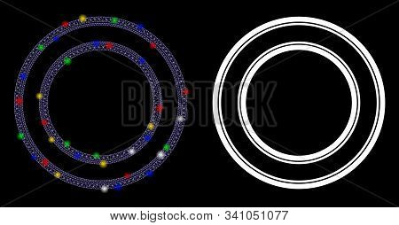 Glowing Mesh Double Circle Frame Icon With Glitter Effect. Abstract Illuminated Model Of Double Circ