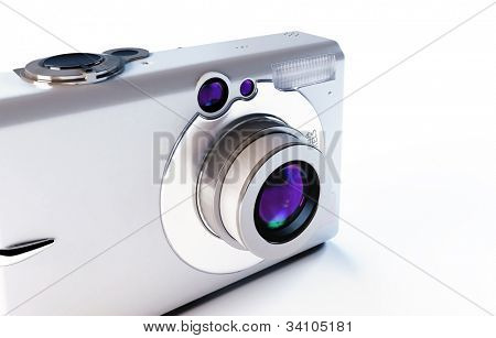 modern digital camera on a white background