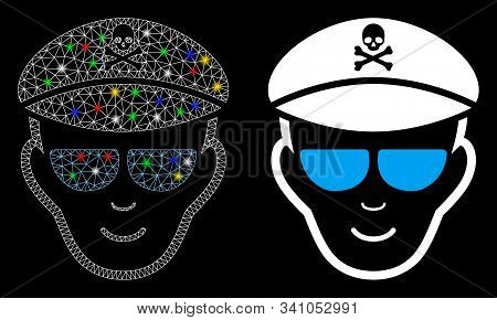 Glossy Mesh Evil Soldier Face Icon With Glare Effect. Abstract Illuminated Model Of Evil Soldier Fac