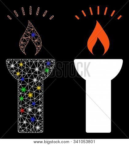 Glowing Mesh Fire Torch Light Icon With Glow Effect. Abstract Illuminated Model Of Fire Torch Light.