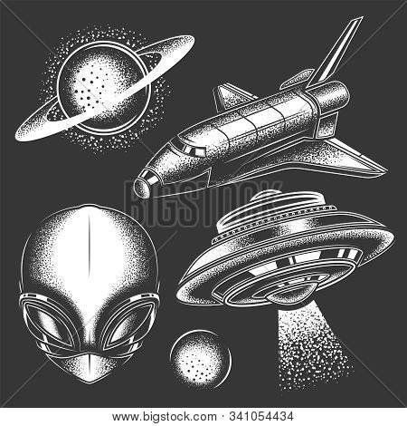 Original Monochrome Vector Space Alien Set. Planets, Space, Space Shuttle, Flying Saucer.