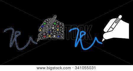 Bright Mesh Hand Signature Icon With Lightspot Effect. Abstract Illuminated Model Of Hand Signature.