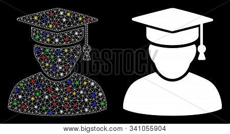 Bright Mesh Knowledge Man Icon With Sparkle Effect. Abstract Illuminated Model Of Knowledge Man. Shi