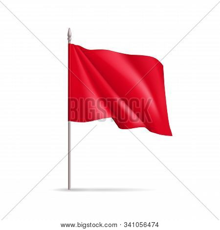 Red Rectangular Flag On Flagpole Isolated On White Background. Realistic Expo Banner For Outdoor Pre