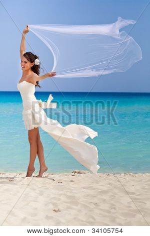 Young brunette bride and the blue sea