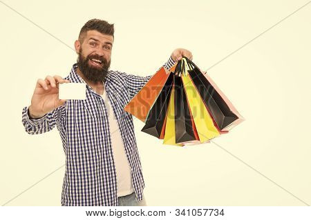 Safe Shopping. Consumer Protection Concept. Man Happy Consumer Hold Shopping Bags And Bank Card. Con
