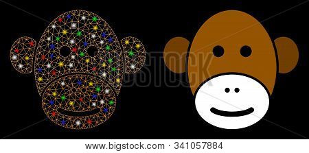 Flare Mesh Monkey Face Icon With Glitter Effect. Abstract Illuminated Model Of Monkey Face. Shiny Wi
