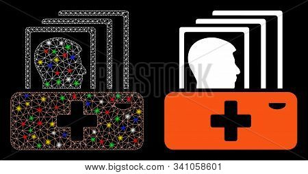 Flare Mesh Patient Catalog Icon With Sparkle Effect. Abstract Illuminated Model Of Patient Catalog.